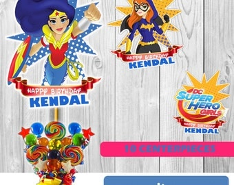 10  DC SUPERHERO Girls Centerpieces, download Instantaneous, printable, high quality, PDF file.