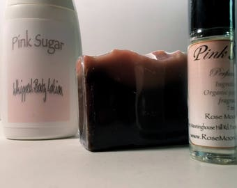 Pink Sugar Gift Set - Perfume Oil, Whipped Body Lotion, Cold Process Soap - Mango Butter, Shea, Raspberry Seed Oil, Organic Camellia Oil