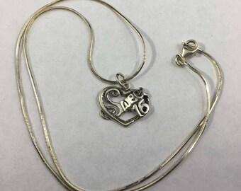 Vintage Sterling Silver Sweet 16 Necklace