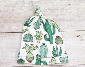 Newborn Hat - Baby Hat - Organic Baby Hat - Cactus Baby Hat - Knot Baby Hat
