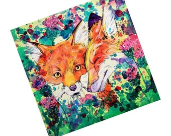 "Fridge Magnet Foxes - ""In the thistles"""