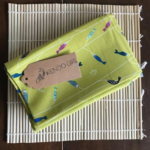 Kendo Tenugui, Japanese Cotton Tenugui - Tiny Fishes Design by Kendo Girl