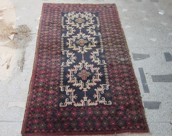 108 X 192 Cm Vintage Afghan Tribal Taimani Faded Baluch Rug