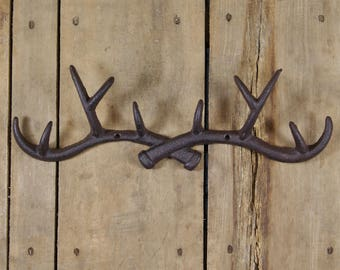 Cast Iron Antler 10-Hook Rack