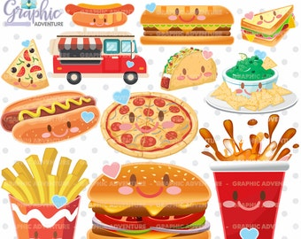 Fast Food Clipart, Fast Food Graphics, COMMERCIAL USE, Kawaii Clipart, Food Graphics, Fast Food, Planner Accessories, Meal, Fast Food Party