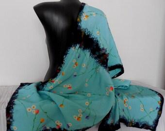 Light Blue-Green Silk Wrap, Silk Scarf with Felt, Multicolor Nuno Felted Wrap, Felting Merino Shawl, Nuno Felt Shawl, Wrap with Merino Wool