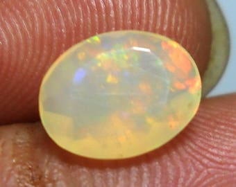 Opal Faceted Ethiopian Opal,Natural Opal stone Oval Shape Faceted Multi Fire Cts 1 Size 7x9x4 MM,Pct 1702