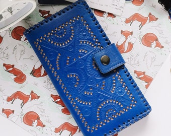 Guyra Blue Vintage Womens Wallet Genuine Leather Wallet Big Wallet  Zipper Coin Phone Cards Mandala Carved Tooled Asian Wallet