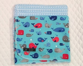 Baby Boy Receiving Blankets, Set of Two Flannel Receiving Blankets, Baby Whales Receiving Blankets, Nautical Theme Swaddle Blankets