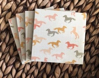 Coasters, Western Coasters, Horse Coasters, Decorative Coasters, Set of 4 Coasters, Tile Coasters, Drink Coasters, Ceramic Coasters