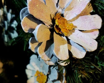 Painted Pine cone daisy Flowers similar to Painted Pine cone Zinnia Flowers Zinnia Pinecones white daisy SET OF SIX Daisies daisy Ornaments