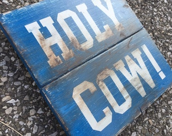 HOLY COW! | Wrigley Field | Chicago Cubs | Baseball Sign | Distressed Wood Handmade Sign | Boys Wall Decor | Baseball Signage | World Series