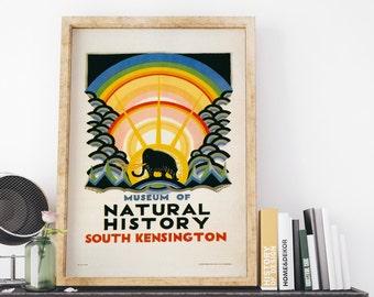 London Underground Kauffer Museum of Natural History 1923 by Edward McKnight Kauffer Vintage UK Travel Poster Art Print