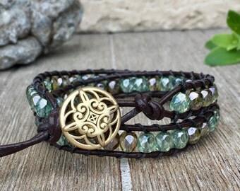 Double Wrap Leather Bracelet Green Czech Glass Beads