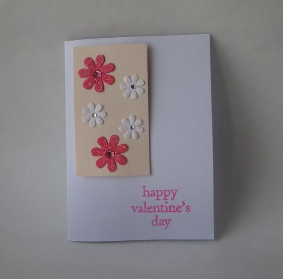 Sale! Valentine's Card - Handmade Card with Flowers - H1