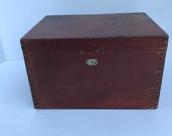 Vintage Wood Box, German advertising box, dovetailed box, keep sake box,