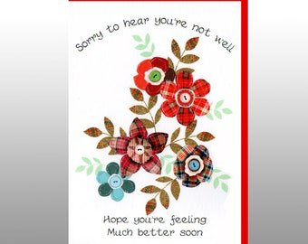 Get Well Soon Tartan Flowers Card WWGW02