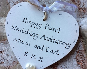 Personalised 30th Pearl Wedding Anniversary gift handmade wooden heart for parents anniversary or gift for friends anniversary