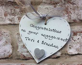 Personalised engagement gift  wooden heart for engaged couple