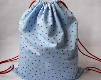 Light Blue and Red Polka Dot Fabric Drawstring Bag/School Bag/PE Bag - Light Blue and Red Polka Dot Fabric