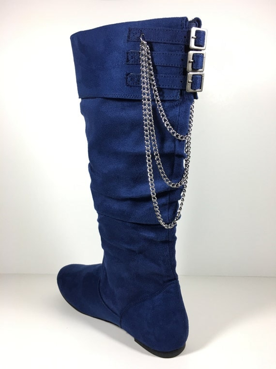 candies s boots blue faux suede flat heel by allgudys