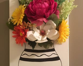 Handmade Flower and Vase Wall Hanging Decoration 12x16""