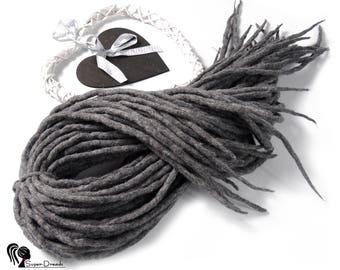 "Wool Dreadlocks Dreads  "" Quiet Wind "" Double Ended"