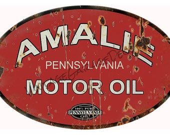 Vintage Style Amalie Pennsylvania Motor Oil Advertising Metal Sign