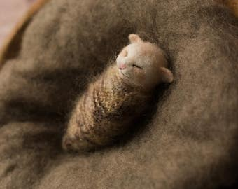 New born baby photo prop, photo prop, The Woolly Cradle, needle felted kitten, sleeping kitten, podling, ooak, Woolly Felters, Judy Balchin