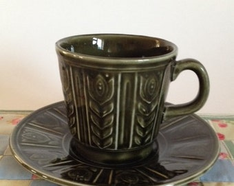 Vintage Tams cup and saucer, 1960/70 Tams cup and saucer,  Geometric pattern cup and saucer, British vintage pottery