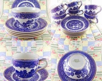 Vintage Arklow pottery tea set circa 1970s Willow pattern, Retro Irish tea set cup and saucer Arklow Willow pattern circa 1970s
