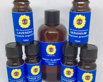 Natural 100% Pure Essential Oils Starter Set 6 x 10ml & 1 x 100ml Carrier Oil - Therapeutic Grade -  Finest Quality
