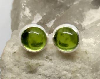 Peridot Studs - Sterling Silver Stud Earrings - Healing Gemstone Gift - 6mm Crystal Earrings