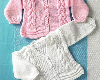 "Baby Girl Cable Cardigans or Jacket Knitting Pattern (16""-26"") UKHKA 68, baby  pattern, childrens knitwear, birth to 6 years, 16-26 inches"