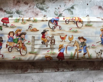 Michael Miller Fabric. Lil Cowgirl printed cotton.