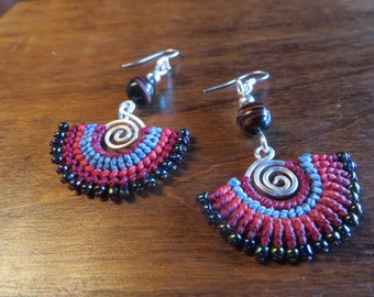 Hand Woven Macrame Earings in Red Pink and Blue
