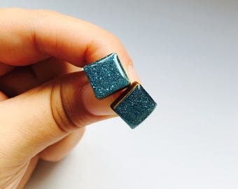 15mm Blue Shimmer Square Resin/Bamboo Stud Earrings • Glossy • Glitter • Surgical Steel • Hypoallergenic