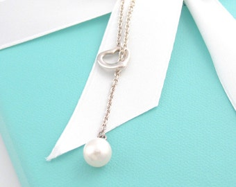 Rare - Stunning Tiffany & Co. Sterling Silver White Pearl Lariat Necklace