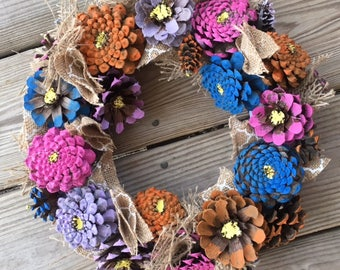 Wreath - Pine Cone Zinnia Wreath - Pine Cone Flower Wreath - Zinnia Door Hanger - Pine Cone Wreath