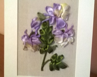 Embroiderd greeting card.COLUMBINE.Ribbon embroidery,Card for all occasions.Gift