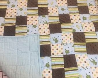 Patchwork Frogs and Chocolate Minky Baby Quilt