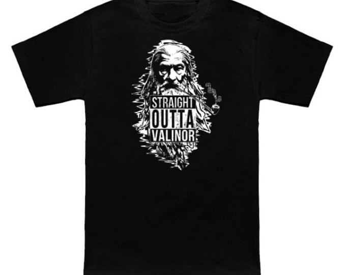 STRAIGHT OUTTA VALINOR Geek T-Shirt Gandalf Lord of the Rings LotR Nerd Grey White Wizard Dragon Fantasy Fellowship Return King Two Towers