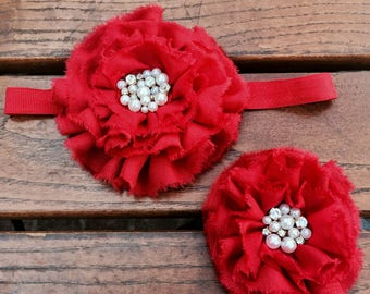 Red Hairband/Fourth of July Hair Clip/Birthday Girl Hairband/Pear and Crystal Hair/Red Wedding Hair Clip/Red Flower Clip/Rose Hair Clip/Bow