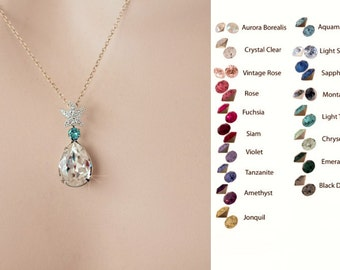 Your Colour Choice -- Handmade CZ Starfish Teardrop Accent Colour Drop Necklace, Destination, Beach Wedding (Sparkle-2713)