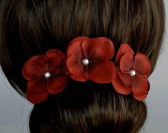 Set of 3 Handmade Dark Red Hydrangea Flower Hair or Bobby Pins, Bridal, Wedding (Pearl-398)