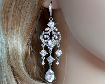 Vintage Inspired Crystal Rhinestone and CZ Chandelier Earrings, Bridal, Wedding (Sparkle-2688)
