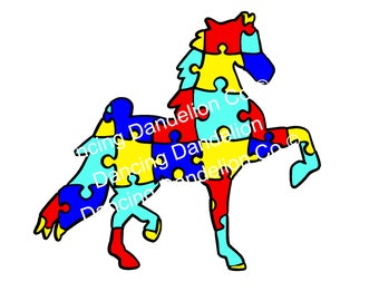 AUSTISM AWARENESS SVG Horse Puzzle
