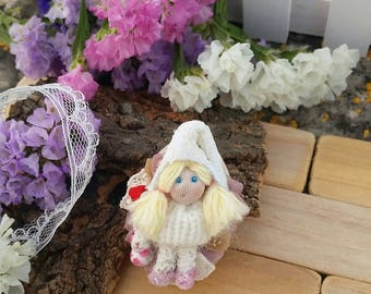 Fairy of friendship brooch with little rabbit,  friendship fairy brooch, friendship gnome brooch, fairy whit little fabric rabbit, girl gift