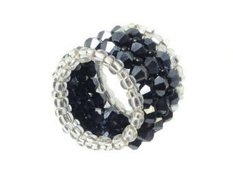 Wide memory ring - Crystal cut glass - Hematite / Black / Silver - approx. 18 mm wide (BS-1337)