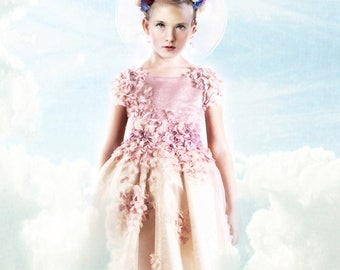 Rosa couture tutu dress with Flowers